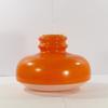 Ancienne suspension lustre design Space Age vintage en verre teinté orange et blanc