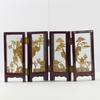 Ancien diorama paysage miniature sculpture sur liège sous cadre pliant verre et bois laqué asiatique