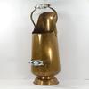 Ancien seau à charbon en cuivre décoré et poignée porcelaine