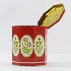 Boîte en fer octogonale, rouge, décor floral