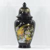 Vase pot couvert noir décor oiseaux