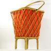 Travailleuse vintage en bois courbé, rotin et tissu des années 70