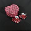 Coffret coeur FINECASA ROSE 2 tasses et 2 soucoupes à café.