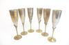 Lot de 6 coupes de champagnes en Laiton doré et métal argenté
