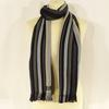 Écharpe grise à rayures en laine et coton