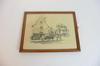 Tableau gravure sous verre cadre bois scène de village auberge chevaux