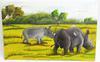 Tableau de rhinocéros artisanal