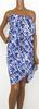 Pagne artisanal à motif soleils carrés sur fond bleu T.U