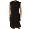 Robe noire vintage Création Alyscamps voile rebrodé arabesques T 44