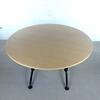 Table de réunion petite 4 places  en mélamine - métallique finition bouleau 120x70x120cm - Marron
