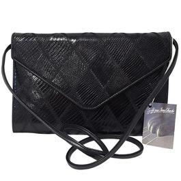 Sac pochette Jean Charles en cuir vernis noir losanges lézard - Photo ... 3872c3480dd
