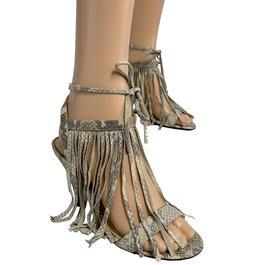 6ae92d6ee6c Sandale à talon Patrizia Pepe P 37 en cuir effet suédé chaussure à franges  - Photo ...