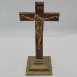 Crucifix en bronze sur laiton 100% vintage - Photo 0