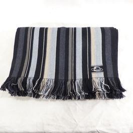 bf7bc4b3493 ... Écharpe grise à rayures en laine et coton - Photo 1