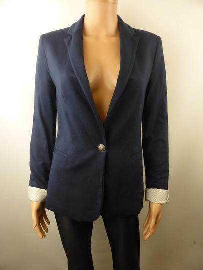Femme Marine Blaser T38Ref j6Sur Zara Bleue Veste Label Nnmw8v0O