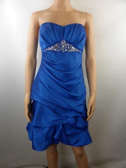 YOUR SIXTH SENSE Robe de Cocktail Femme Bustier Bleue Perlée Satinée - T36  ( ref. 7311853ff8b0