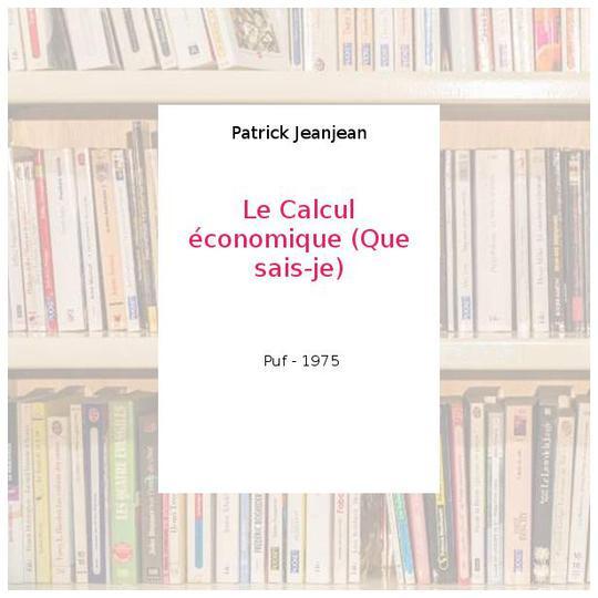le calcul economique