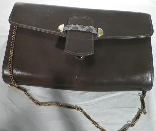 Pochette Sac Cuir Taupe Chainette Dorée Vintage tQdCshrx