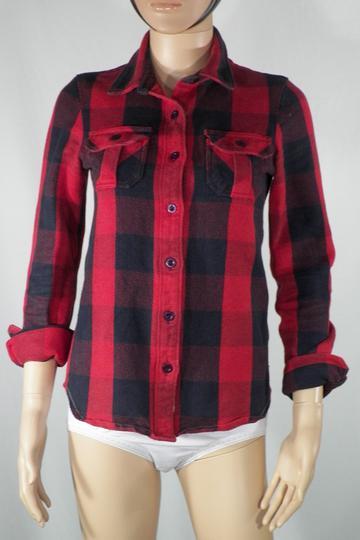 Chemise à carreaux Femme Rouge et Bleu marine BIZZBEE Taille XS.