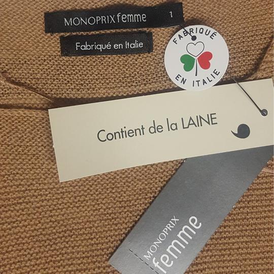 ... Neuf   étiquette Pull tunique Monoprix en maille beige marron Taille 1  - Photo ... 590354a2dc4