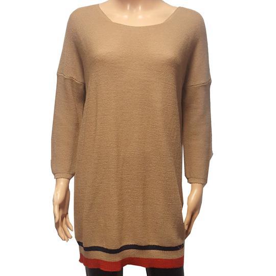 Neuf   étiquette Pull tunique Monoprix en maille beige marron Taille 1 -  Photo ... 33ebca43a36