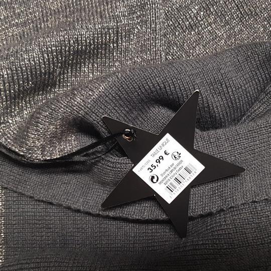... Neuf   étiquette longue écharpe Monoprix maille grise et brillante -  Photo 1 155fee41481