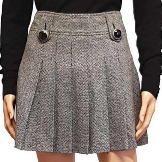 Jupe courte plissée Camaieu T 36 en lainage gris style tweed chevrons