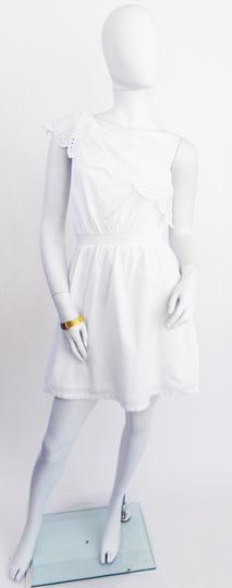 Robe  blanche oneshoulder avec dentelle anglaise  - 36 - PIMKIE - Photo 0