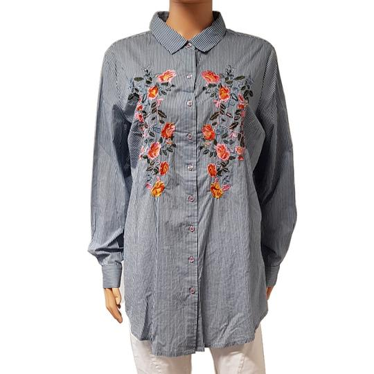 Chemise Boohoo T 42 Rayures & broderies fleurs  - Photo 0