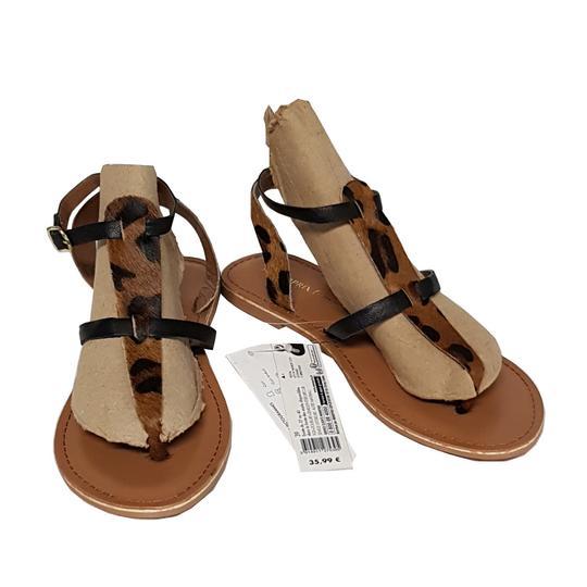 Neuf & étiquette Chaussures sandales Monoprix P 39 cuir imprimé léopard - Photo 0