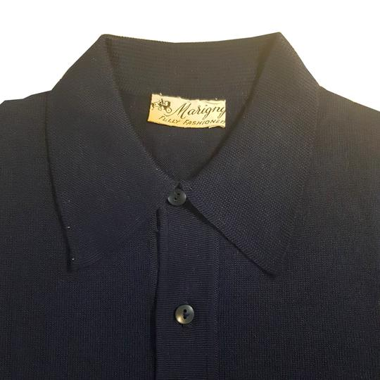 Polo vintage neuf Marigny T M / L Pull en maille fine bleu marine  - Photo 4