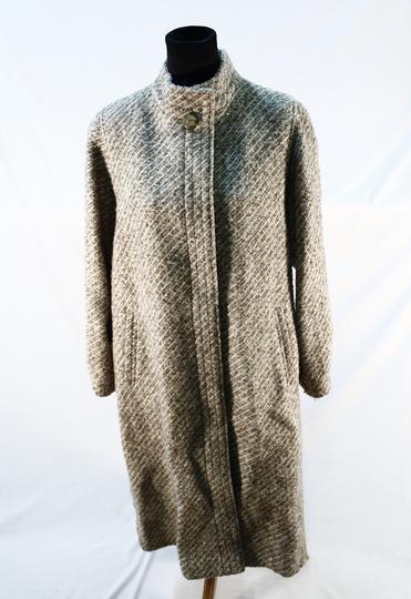 Manteau rayé écru marron avec écharpe T. 38 en laine sur Label ... 080ef6e8793a