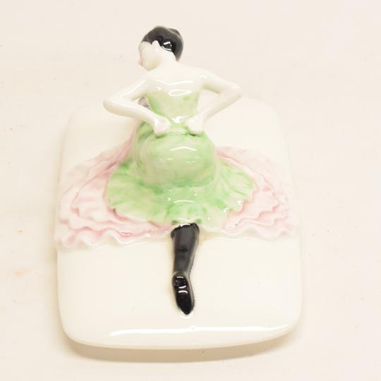 Bonbonnière ou vide poche en porcelaine art déco danseuse de french cancan - Photo 5
