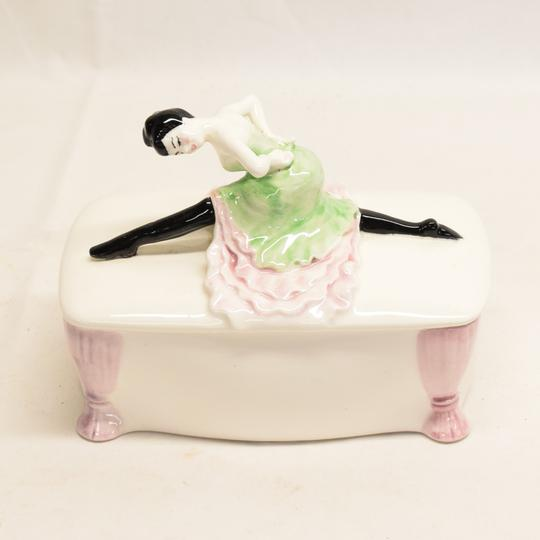 Bonbonnière ou vide poche en porcelaine art déco danseuse de french cancan - Photo 0