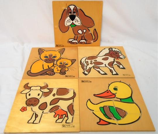 Lot de 5 puzzles en bois animaux ancien. Rolf. - Photo 0