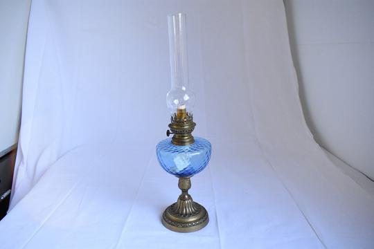 Lampe A Petrole Bleu Et Cuivre Sur Label Emmaus Boutique En Ligne
