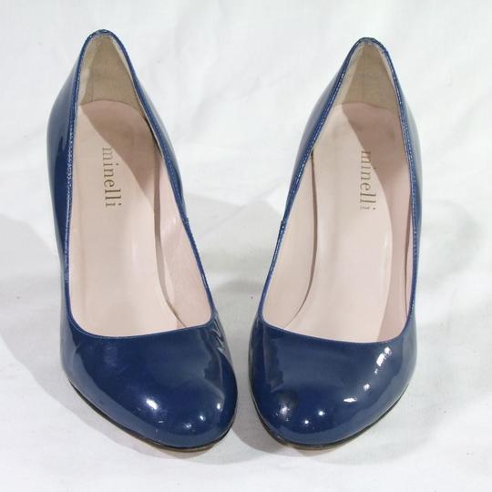 Escarpin Minelli A Bout Rond En Cuir Vernis Bleu Taille 38 Sur Label