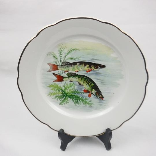 Lot de 11 assiettes plates Digoin Sarreguemines décor poisson - Photo 6