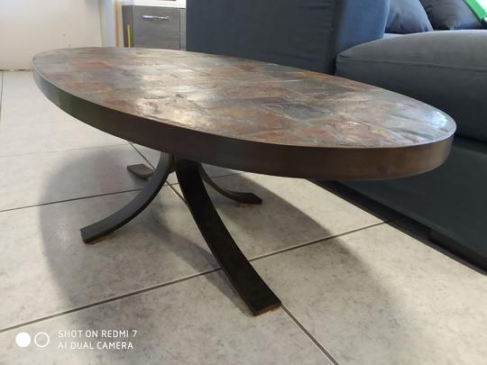 Table basse vintage plateau en ardoise