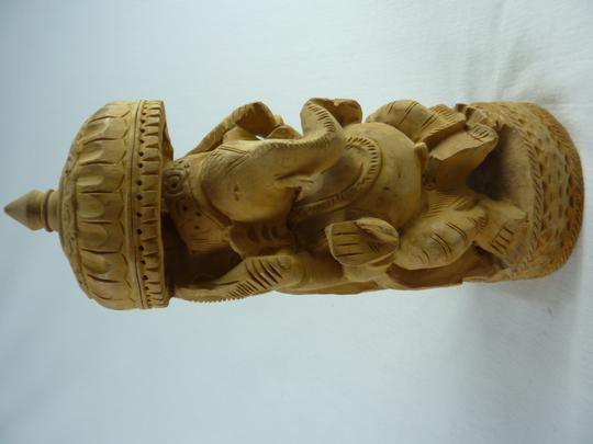 Statue Indienne en Laiton Dieu de Ganesha Assis sur Une Chaise /à Bascule et Lecture dun Livre 15,2 cm Art Hindou