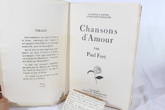 Chansons Damour De Paul Fort Avec Envoi Cartes Visite Manuscrites Et Autographe