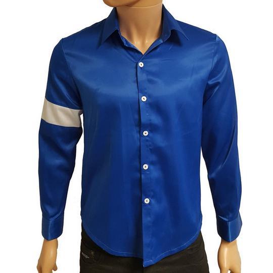 156316985ffc Chemise Michael Jackson en satin bleu T M sur Label Emmaüs, boutique ...