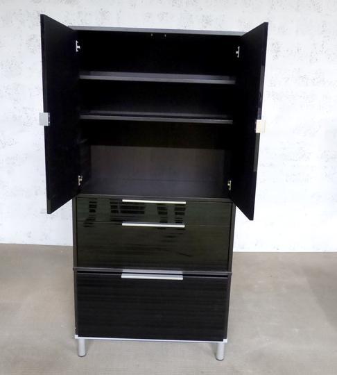 Meuble Rangement Ikea En Melamine 85x42x175cm Noir Label Emmaus