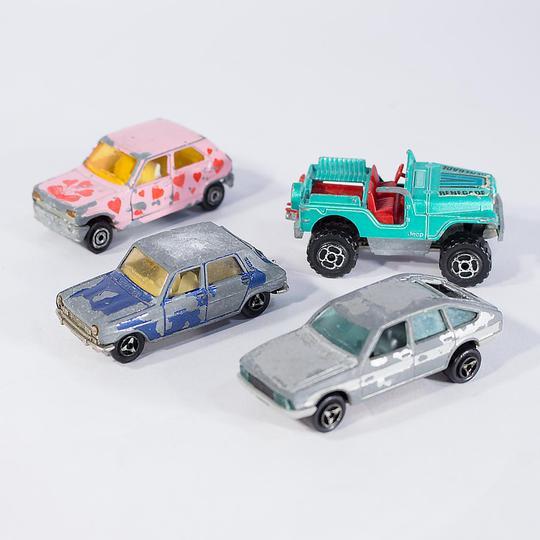 lot de 4 voitures majorette métal sur label emmaüs, boutique en