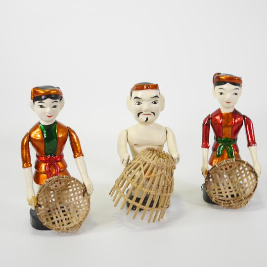 Lot de 3 figurines en bois chinois  - Photo 0