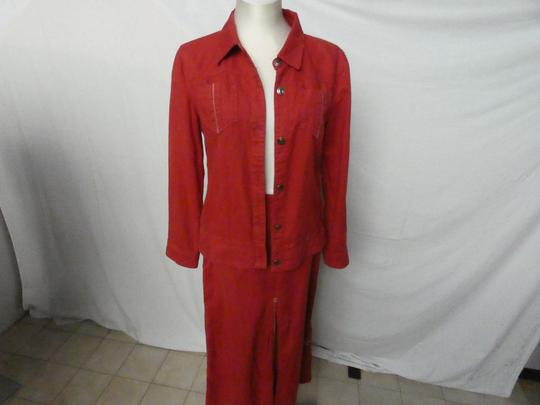 Ensemble jupe longue veste SAINT JAMES rouge brique Taille 38 LIN et COTON