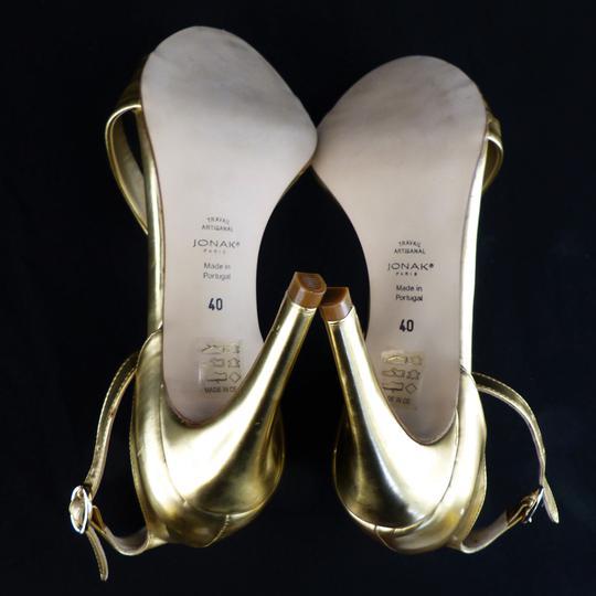 Sandales dorées en cuir JONAK Pointure 40 Label Emmaüs