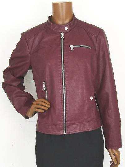 Veste en simili cuir bordeaux