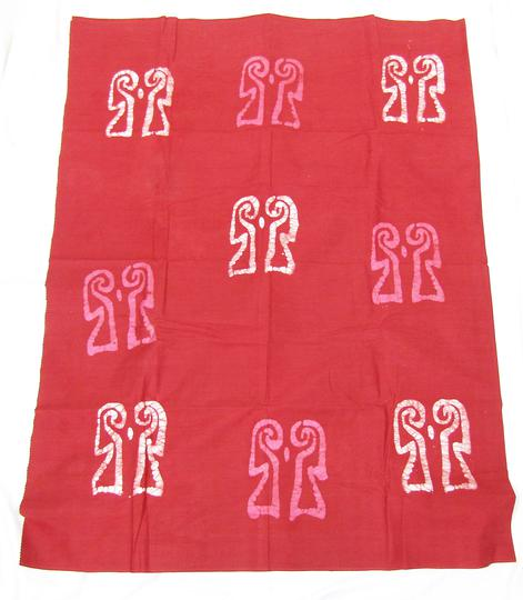 Pagne artisanal à motif silhouettes sur fond rouge T.U - Made in Burkina Faso - Photo 3