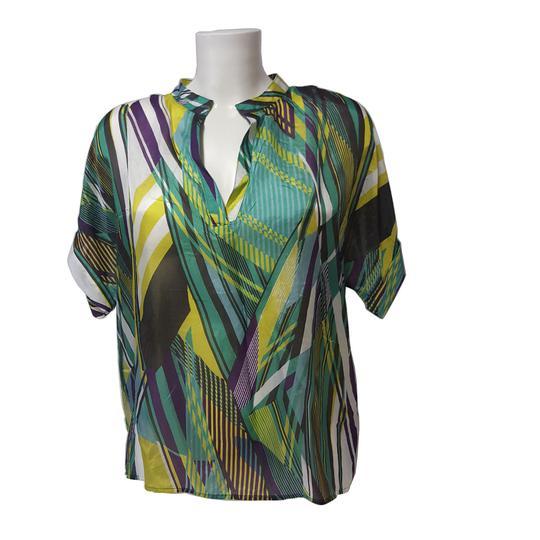 886ef4b05253 Top blouse tunique 1.2.3 en soie Imprimé graphique coloré T 42 - Photo ...